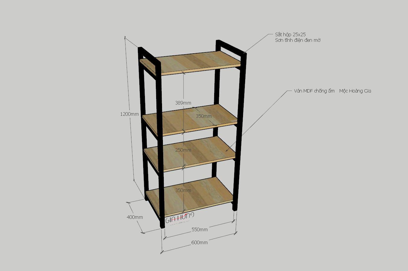 Kệ để lò vi sóng gia đình khung chân sắt mặt gỗ GHK-157