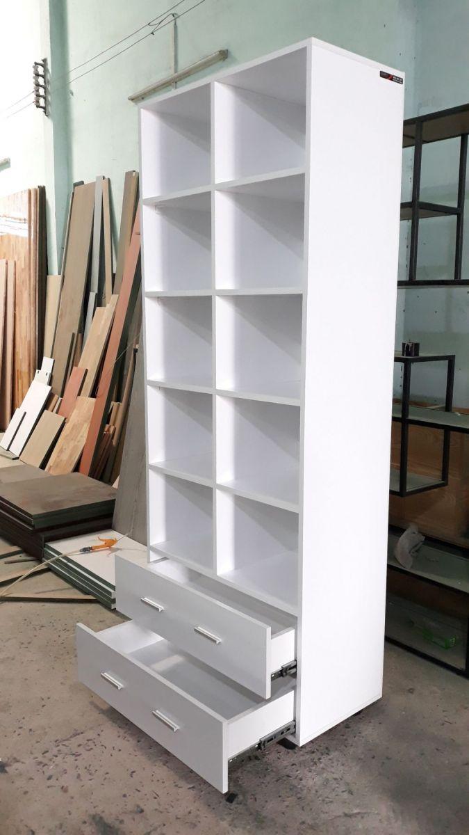 Kệ sách - kệ trang trí gỗ MDF chống ẩm GHT-205 full trắng