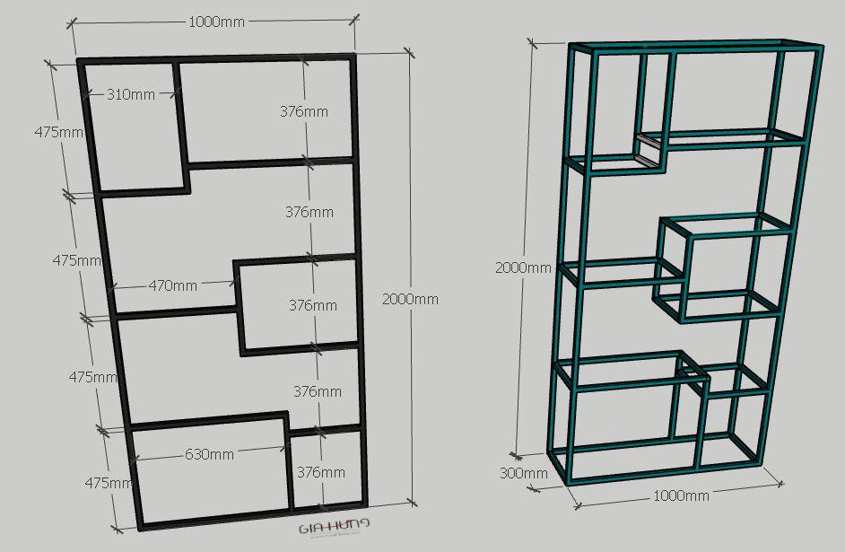 Kích thước chi tiết: Kệ trưng bày | kệ trang trí khung sắt mặt gỗ GHK-264