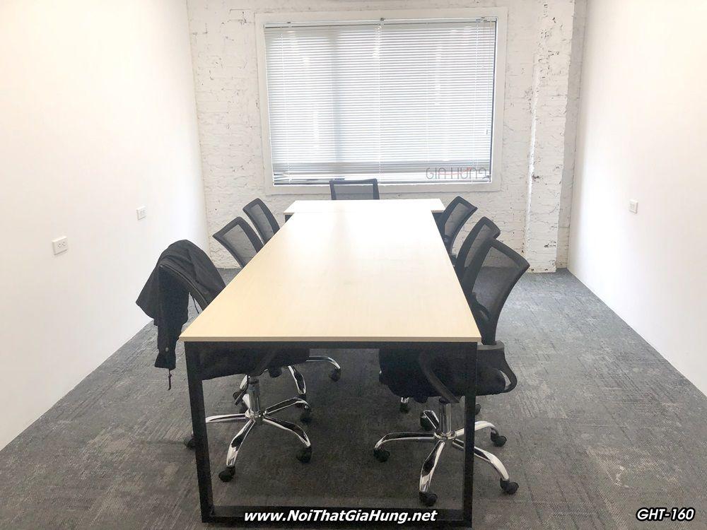 Bàn họp lớn văn phòng khung chân sắt mặt gỗ sơn tĩnh điện GHT-160