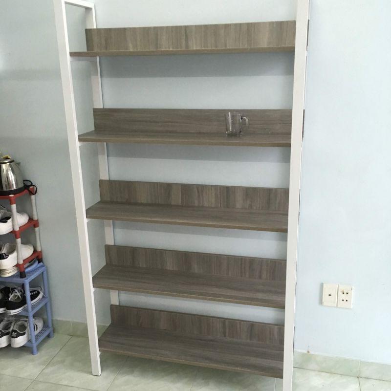 kệ trang trí khung chân sắt mặt gỗ GHK-305 chân màu trắng sơn tĩnh điện