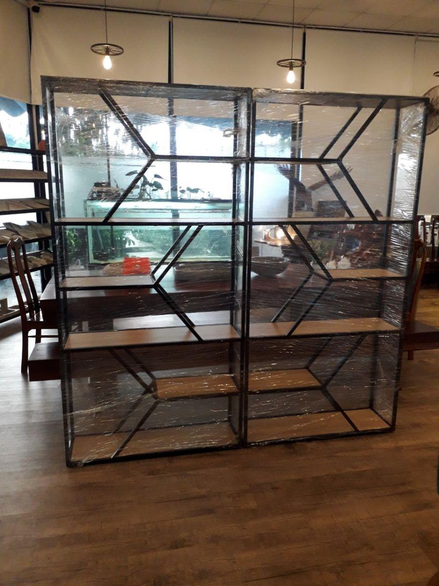 kệ trang trí khung chân sắt mặt gỗ GHK-76 - hình thực tế