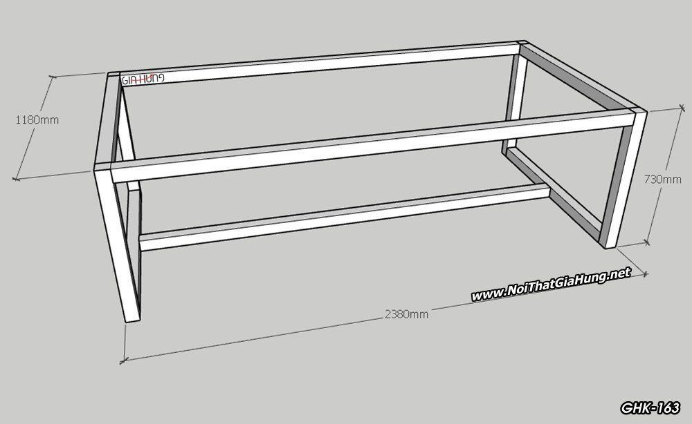kích thước khung chân sắt bàn văn phòng GHK-163