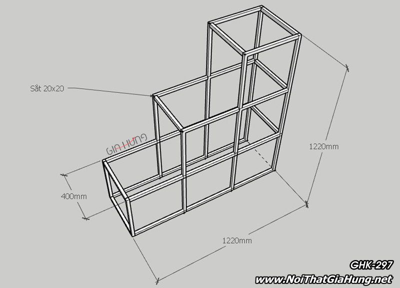 thông số kỹ thuật kệ gỗ khung sắt GHK-297 | Nội Thất Gia Hưng