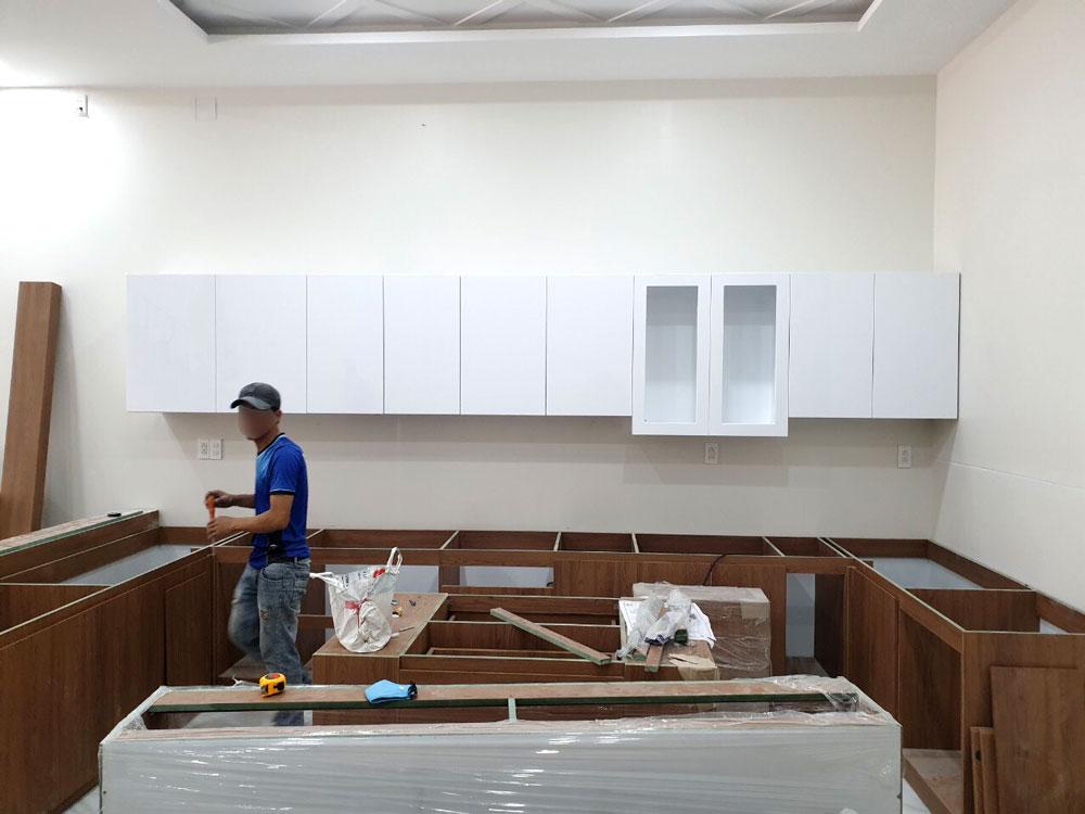 tủ bếp gỗ công nghiệp màu trắng GHT-167 giá rẻ