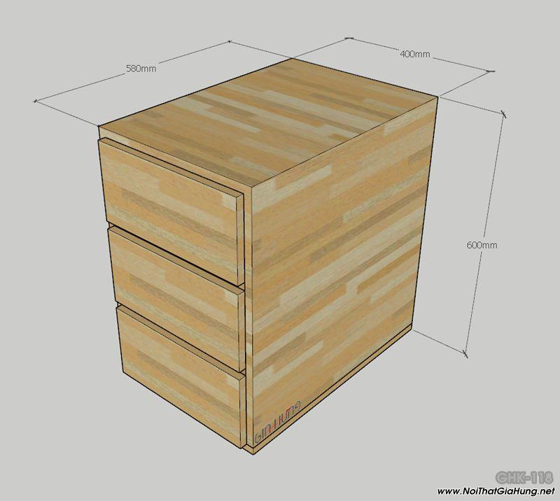 Tủ đựng hồ sơ để dưới bàn làm việc khung chân sắt mặt gỗ GHT-118