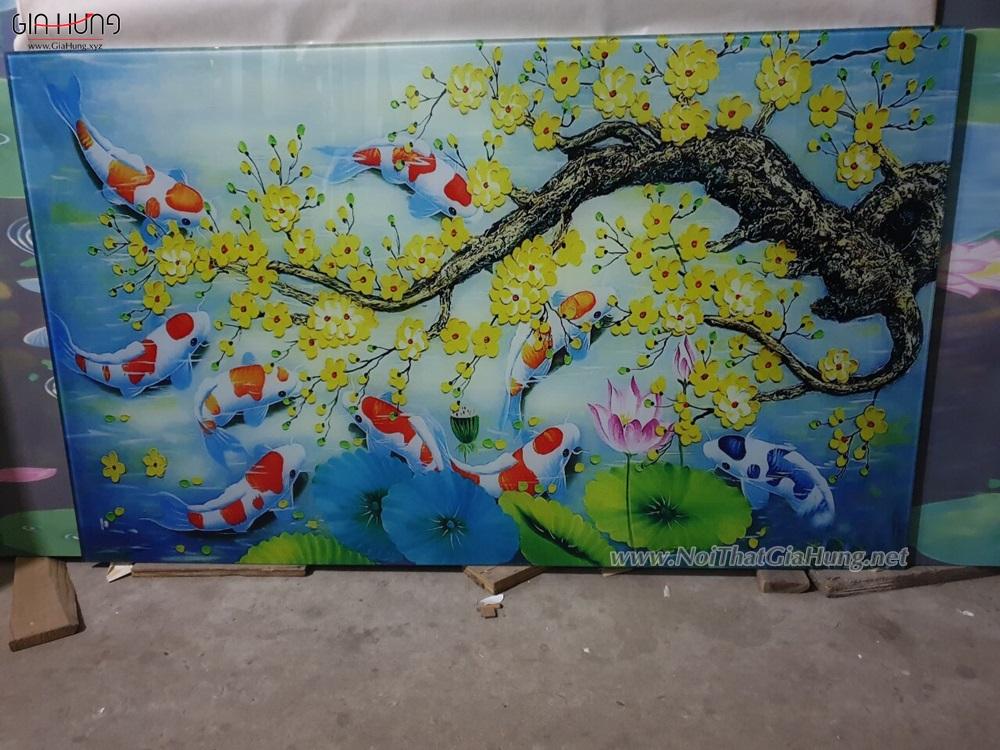 Tranh kính cường lực in hình cây Mai và cá Koi - Biểu tượng Phong Thủy
