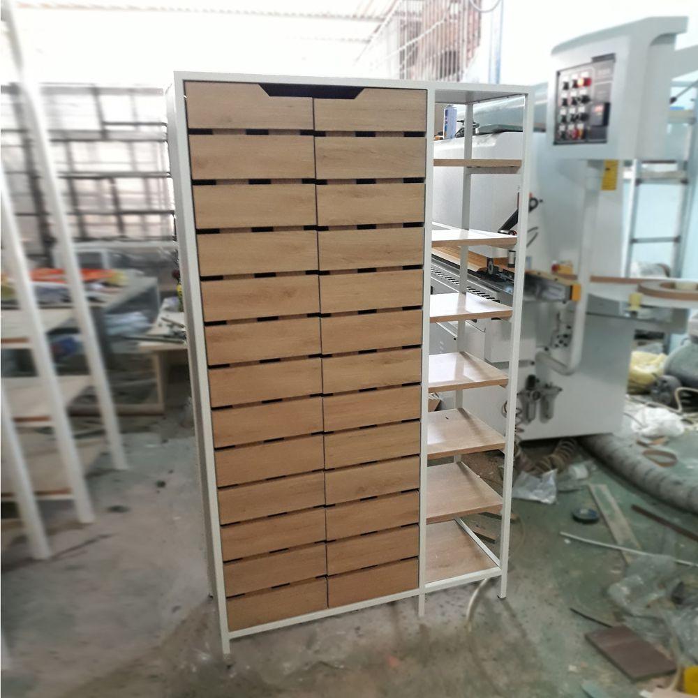 Tủ giày khung chân sắt mặt gỗ GHK-288 siêu kul